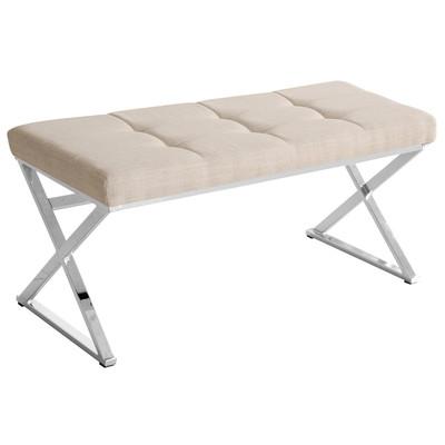 Chrome X Base Bench, Natural Linen Fabric