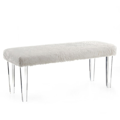 Faux Fur bench with Acrylic legs