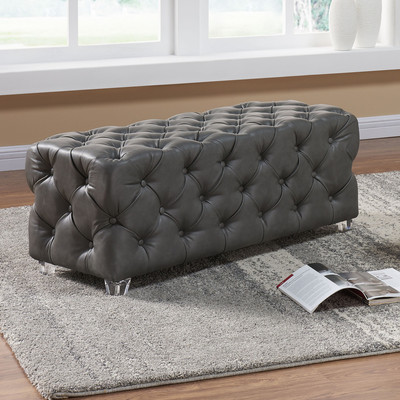 Button Tufted Grey  Faux Leather Bench with Acrylic Feet