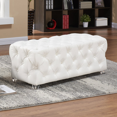 Button Tufted White Faux Leather Bench with Acrylic Feet