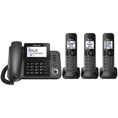 Panasonic KX-TG133C 6.0 DECT Corded and 3-Cordless Handset Phone System Refurbished (885170234284)