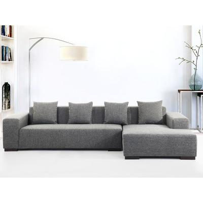 Dark Grey Fabric Sectional Sofa - LUNGO LDG w/ottoman