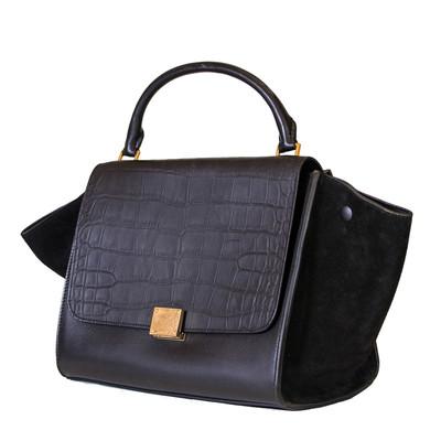 Celine Medium Trapeze Bag Black-Croc