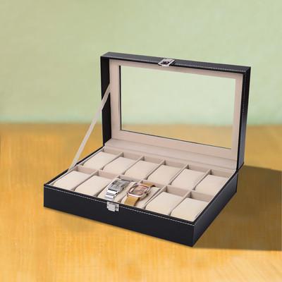 10 Grid Watch Box Display Jewelry Storage Organizers Holder Case Faux Leather Black New