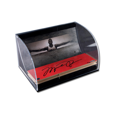 """Michael Jordan Autographed Bulls 3x10 Game Used Floor Piece -  with """"Wings"""" 8x10 in Horizontal Curved Acryllic Display Case  - Limited to 100"""