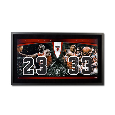 """Michael Jordan & Scottie Pippen Dual Signed Chicago Bulls Framed Presentation - """"20th Anniversary Championship Numbers Piece"""" - Limited to 72"""