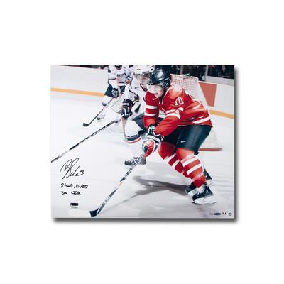 """Brayden Schenn Signed """"8 Goals, 10 Asts 2011 WJHC"""" Team Canada 24x20 Photo  - Limited to 25"""