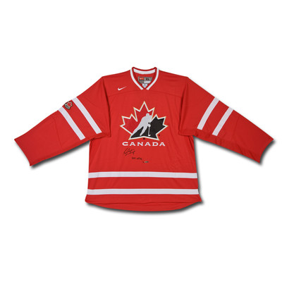 """Sean Couturier Inscribed """"2011 WJHC"""" Team Canada Nike Red Jersey - Ltd /14"""