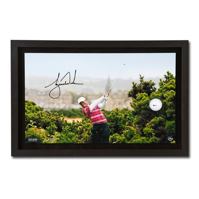 """Tiger Woods Autographed """"10th Tee Breaking Through"""" Framed Display  - Limited to 250"""