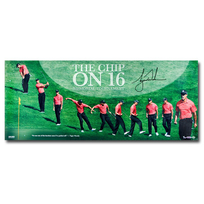 """Tiger Woods Autographed 36x15 """"The Chip on Sixteen"""" Panoramic Photo  - Limited to 116"""