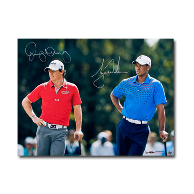 """Tiger Woods and Rory McIlroy Dual Signed """"Focused"""" 24x18 Photo  - Ltd. to 100"""