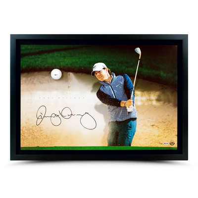 """Rory McIlroy Autographed """"Sandrap Breaking Through"""" Framed Display  - Limited to 100"""