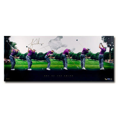 """Tiger Woods Autographed """"Art Of The Swing"""" 36x15 Collage  - Limited to 250"""