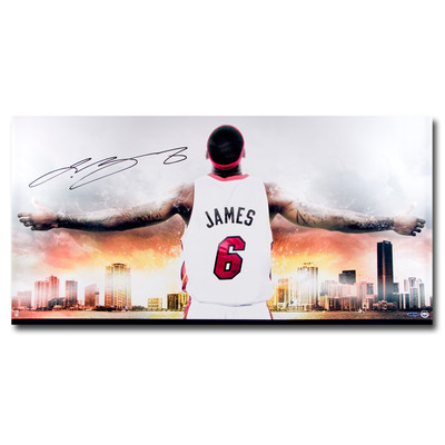 "Lebron James Autographed Miami Heat ""Witness"" 36x18 Photo"