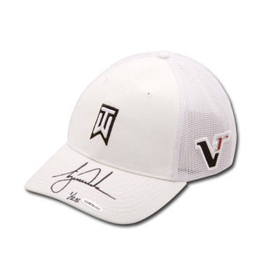 """Tiger Woods Autographed Nike 2012 """"Victory"""" TW White Cap  - Limited to 25"""