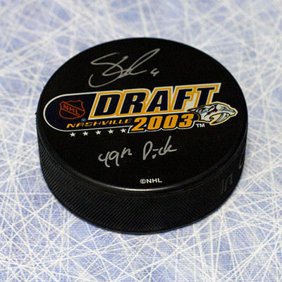Shea Weber 2003 NHL Draft Day Puck Autographed with with 49th Pick Inscription