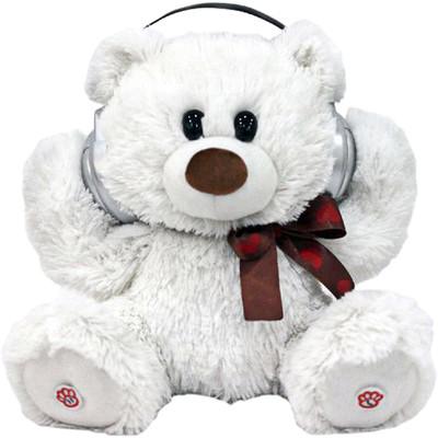Adorable Dancing White Teddy Bear Portable Plush Bluetooth Communication Speaker (6944892020569)