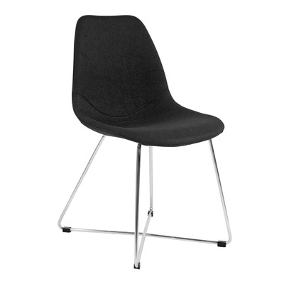 Kanto ARTIKA-X Wool Side Chairs with Brushed Stainless Steel Base - Set of 4 (Black)