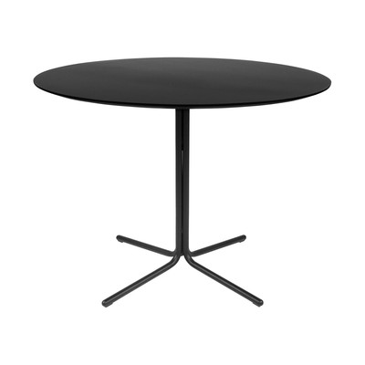 """Kanto GRACE 39.4"""" Round Dining Table with Black Legs (Black)"""