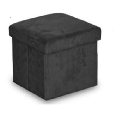 Urban Shop Collapsible Storage Ottoman - Black