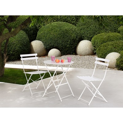 Outdoor Bistro Set - Folding Table and 2 Chairs - FIORI White