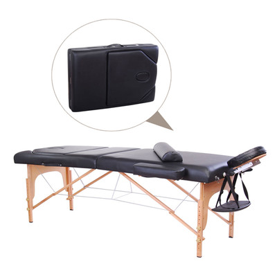 "Soozier 4"" Extra Thick Portable Massage Table Bed 3-Section Adjustable Spa Black"