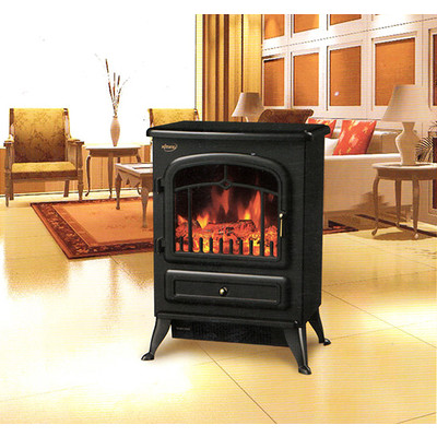 HOMCOM Free Standing 1500W Electric Fireplace Portable Firebox Adjustable, Black
