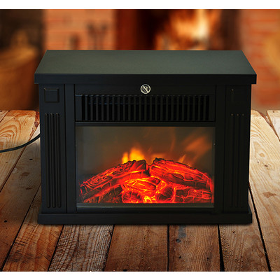 HOMCOM 1000W Electric Fireplace Fire Flame Stove Heater Remote Control Firebox, Black