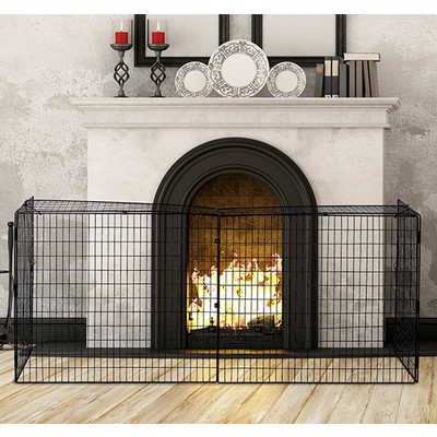 Homcom Extendable Fire Safe Guard Screen Folding Fireplace Fence, Black
