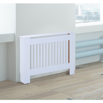 HOMCOM Radiator Cover Painted Slatted MDF Cabinet Lined Grill, White