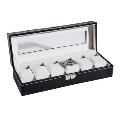 HOMCOM Wrist Watch Box 6 Grids Slot Display Gift Holder Storage Organizer Lock