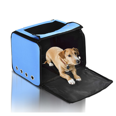 """PawHut Foldable 4-in-1 15.7"""" Dog Cat Car Carrier Portable Backpack Bicycle Basket Carrier, Light Blue"""