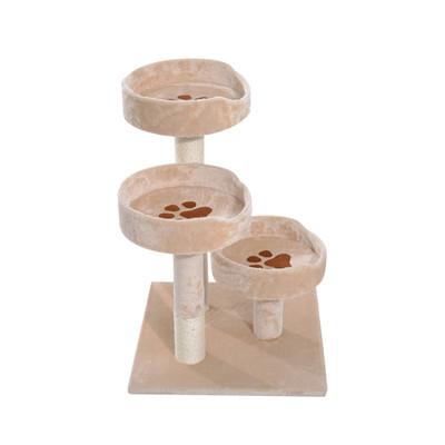 PawHut Cat Tree Tower Condo Furniture Kitty Pet Play Scratching Post Pet Supplies, Beige