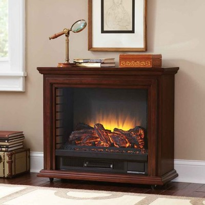 Pleasant Hearth - Sheridan Infrared Mobile Fireplace - Cherry Finish