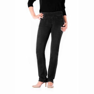 Bluberry women's Leah premium black rinse straight leg denim