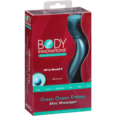 Body Innovations Sensual Waterproof Battery Operated Vibrating Mini Massager - Green Ocean Ecstasy