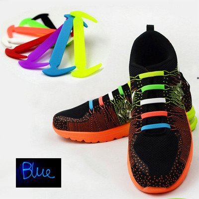 Blue - Lazy Elastic Silicone Shoelaces, no need for tying shoes again - Set of 12pcs
