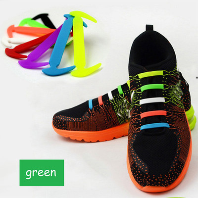 Green - Lazy Elastic Silicone Shoelaces, no need for tying shoes again - Set of 12pcs