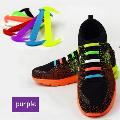 Purple - Lazy Elastic Silicone Shoelaces, no need for tying shoes again - Set of 12pcs