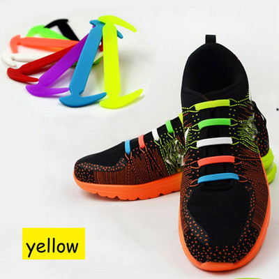 Yellow - Lazy Elastic Silicone Shoelaces, no need for tying shoes again - Set of 12pcs