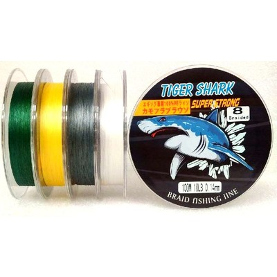 White - Back to Basic - Tiger Shark 10 lb 100m 8 Braided Super Strong Fishing Line