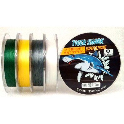 Yellow - Back to Basic - Tiger Shark 15 lb 100m 8 Braided Super Strong Fishing Line