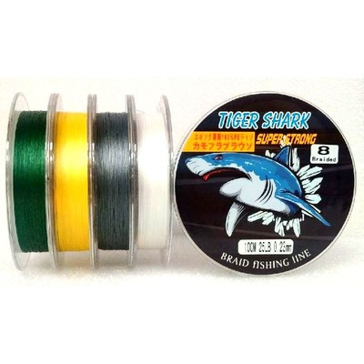 Yellow - Back to Basic - Tiger Shark 25 lb 100m 8 Braided Super Strong Fishing Line