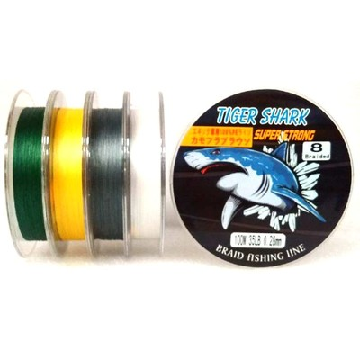 White - Back to Basic - Tiger Shark 35 lb 100m 8 Braided Super Strong Fishing Line
