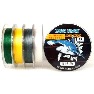 White - Back to Basic - Tiger Shark 50 lb 100m 8 Braided Super Strong Fishing Line