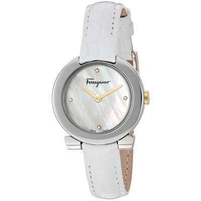 Salvatore Ferragamo Women's 'Gancino Evening' Swiss Quartz Stainless Steel and Leather Watch, Color:White (Model: FAP010016)