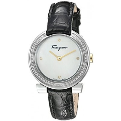 Salvatore Ferragamo Women's 'Gancino Evening' Swiss Quartz Stainless Steel and Leather Casual Watch, Color:Black (Model: FAP030016)