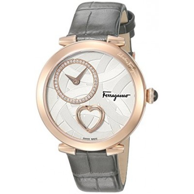 Salvatore Ferragamo Women's 'Beating Heart' Swiss Quartz Stainless Steel and Leather Casual Watch, Color:Grey (Model: FE2050016)