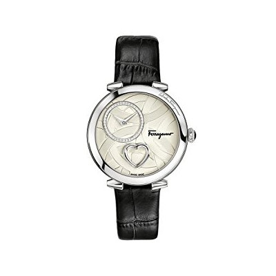 Salvatore Ferragamo Women's 'Cuore' Swiss Quartz Stainless Steel and Leather Casual Watch, Color:Black (Model: FE2990016)