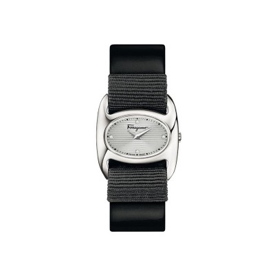 Salvatore Ferragamo Varina Women's Quartz Watch with Silver Glossy Dial set with 4 Diamonds and Black Interchangeable Gros-Grain/Leather Varina band FIE110015